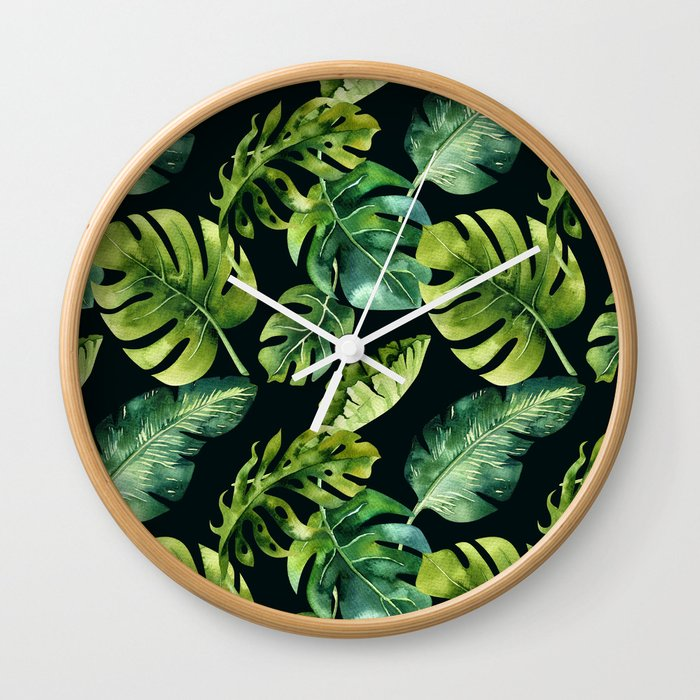 Watercolor Botanical Tropical Palm Leaves on Solid Black Background Wall Clock