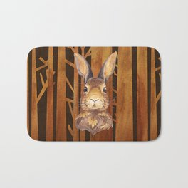 Rabbit in the forest - abstract animal hare watercolor illustration Bath Mat