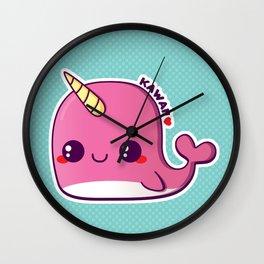 Kawaii Pink Narwhal Wall Clock