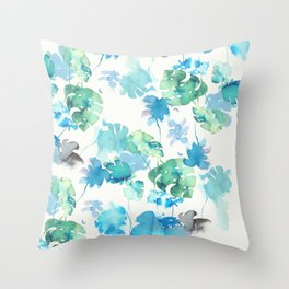 green tropical. collab dylan silva and francisco fonseca Throw Pillow