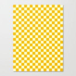 Cream Yellow and Amber Orange Checkerboard Canvas Print