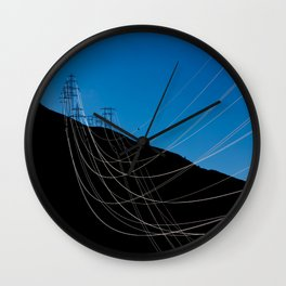 Power Lines Down The Mountain Wall Clock