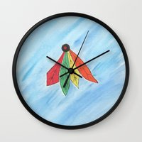 blackhawks Wall Clocks featuring Feathers by Smash Art