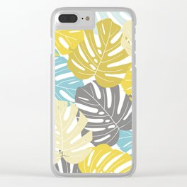 Colourful tropical leaves Clear iPhone Case