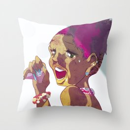 Beauty Sings into the Mike Throw Pillow