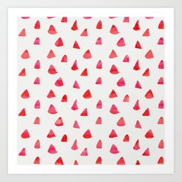 Watercolor pink red abstract geometrical triangles pattern Art Print