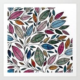Watercolor Leaf Illustration BP0732 Art Print