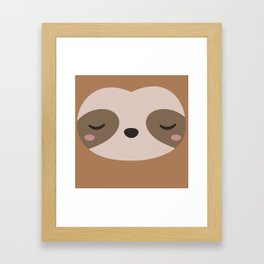 Kawaii Cute Sloth Framed Art Print