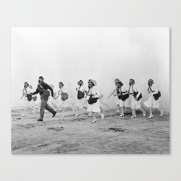 Nurses in Gas Masks - Vintage Military Photo Canvas Print