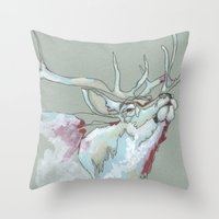 elk Throw Pillows featuring Elk by Sherie Myers