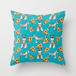 schnauzer pizza dog breed pet pattern dog mom Throw Pillow
