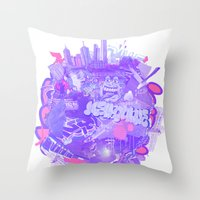 melbourne Throw Pillows featuring 002- Melbourne by Nick Cocozza