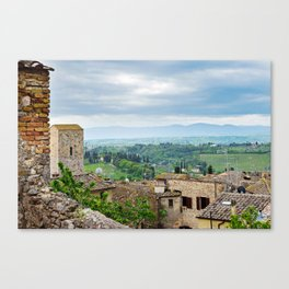 Beautiful spring froggy landscape in Tuscany countryside, Italy Canvas Print