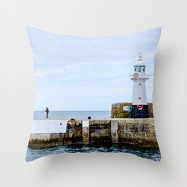 Mevagissey - Lighthouse Fishing Throw Pillow