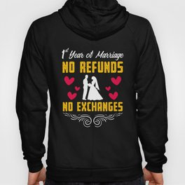 First 1st 1 year Wedding Anniversary Gift Fund Husband Wife design Hoody