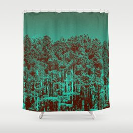 Minty Green Forest Shower Curtain