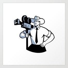 Cowboy Cameraman Vintage Movie Camera Retro Art Print