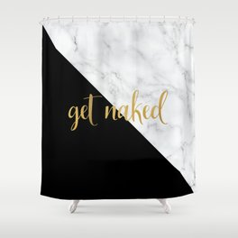 Get Naked, Black and White Marble Shower Curtain