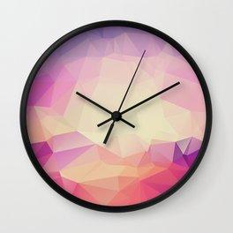 Shining Abstract Polygon Pattern Yellow, Purple, Pink, and Orange Wall Clock