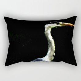 Heron on Black Rectangular Pillow