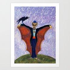 Halloween Funny Batcula with Crow Art Print