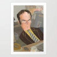 dwight Art Prints featuring Dwight  by Sara Bicknell