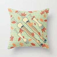 fall Throw Pillows featuring fall by freshinkstain