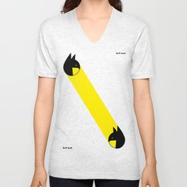 bat-man or pac-man? Unisex V-Neck