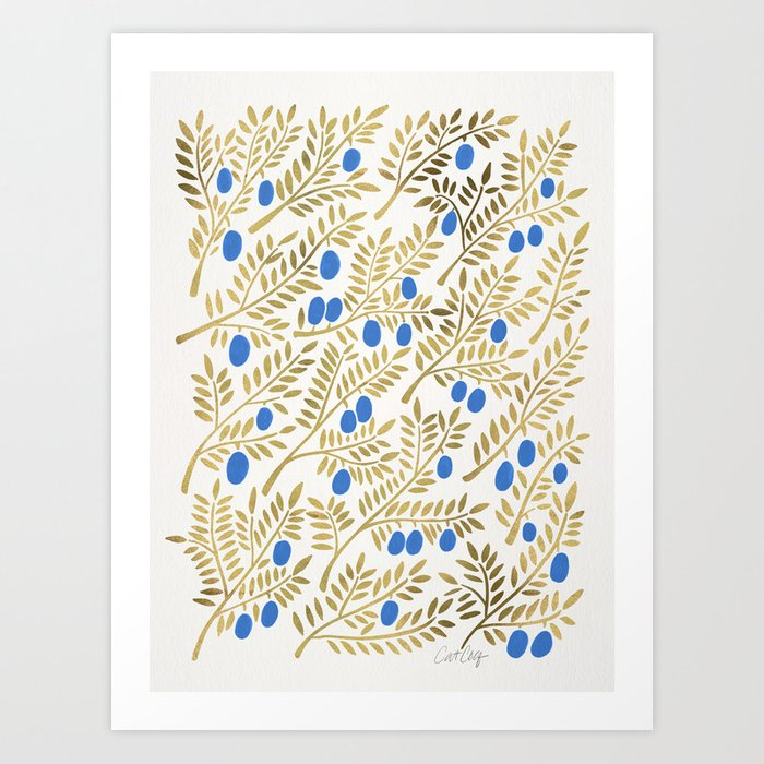 Olive Branches – Gold & Blue Art Print