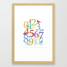 Animal Numbers -  Bright colorway Framed Art Print