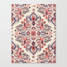 Modern Folk in Coral Red and Indigo Canvas Print