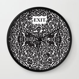 Skulls and Skeletons - Exit Sign Wall Clock