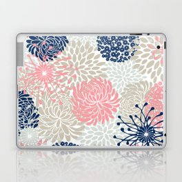 Floral Mixed Blooms, Blush Pink, Navy Blue, Gray, Beige Laptop & iPad Skin