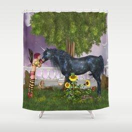 The Last Black Unicorn Shower Curtain