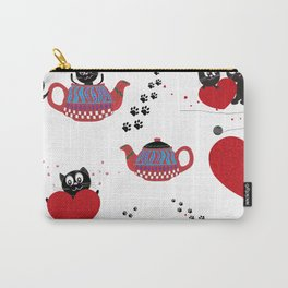 Teapot with black cats. Happy Valentine's day seamless fabric design Carry-All Pouch