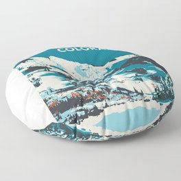 Vintage Ski Aspen Poster Floor Pillow