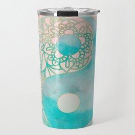 Yin Yang Watercolor Esoteric Symbol teal and soft pink #yinyang Travel Mug