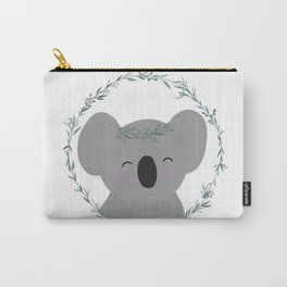 Happy Smiling Koala with Eucalyptus Tiara and Wreath! Carry-All Pouch
