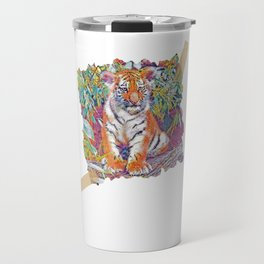 Tiger Cub Pop   Scrapbook Art Travel Mug