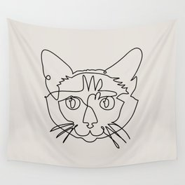 One line Siamese Cat Wall Tapestry