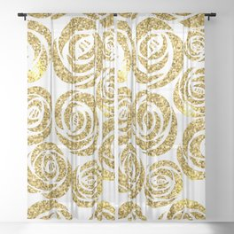 White & Gold Rose Pattern Sheer Curtain