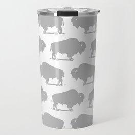 Buffalo Bison Pattern 268 Grey Travel Mug