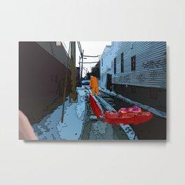 Alley Beside the Metro Metal Print