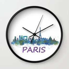 Paris France City Skyline in watercolor HQ Wall Clock