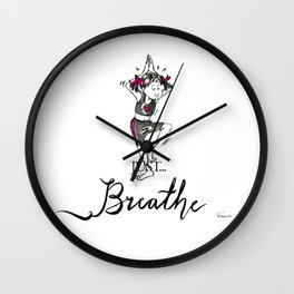 Just Breathe Yoga Art Wall Clock