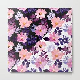 Watrecolor nature purple flowers  acuarela naturaleza flores moradas akvarell natur lilla blomster Metal Print