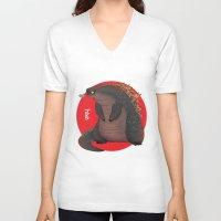 godzilla V-neck T-shirts featuring GODZILLA by olivier silven