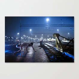 By the trains Canvas Print
