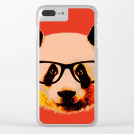 Panda with Nerd Glasses in Red Clear iPhone Case