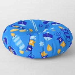Happy Hanukkah Holiday Candles and Dreidels Pattern Floor Pillow